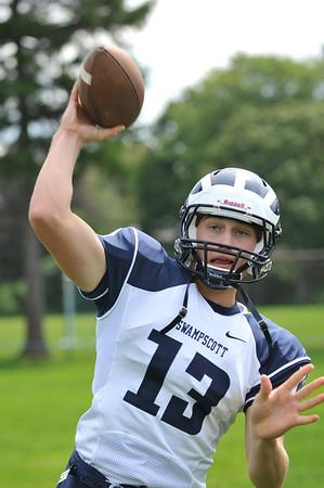 Swampscott High School varsity football captain and quarterback Michael Walsh.  photo by Mark Teiwes /  Salem News