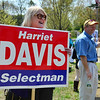 Wenham:  Harriet Davis, left, and Patrick Wilson selectman candidates do some last minute campaigning outside of the elections.  Mark Teiwes / Salem News