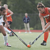 Wenham: Gordon's Eleanor Helai, left, and Salem State's Erin Wilson fight for the ball  photo by Mark Teiwes /  Salem News