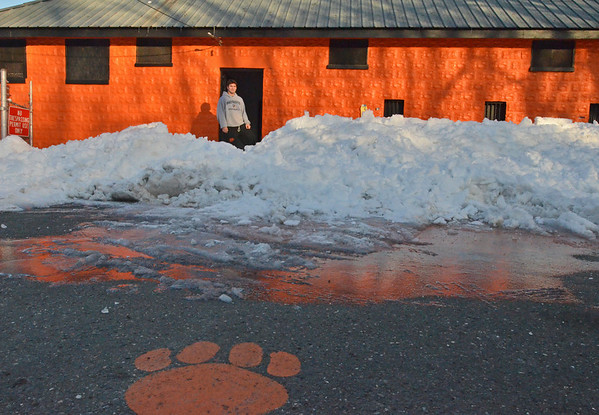 Beverly:   Beverly High School football runningback/defensive back Nick Theriault stands outside the clubhouse at Hurd Stadium.  photo by Mark Teiwes / Salem News