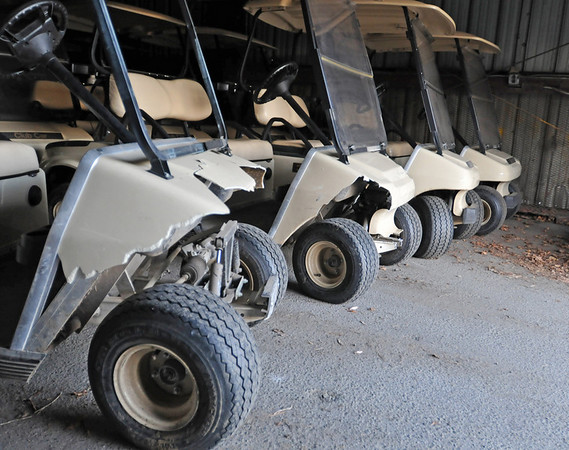 Beverly: Four golf carts were vandalized at Beverly Golf and Tennis.  This was the third time this has happened.  photo by Mark Teiwes  / Salem News