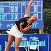 Danvers: Boston Lobsters tennis player Coco Vandeweghe serves during a doubles match.    photo by Mark Teiwes / Salem News