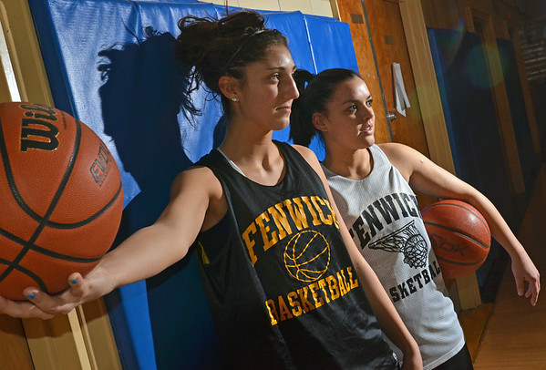 Peabody: Sarah James, left, and Amy Pelletier are key players for Bishop Fenwick as they look to duplicate last year's state tournament run   photo by Mark Teiwes  / Salem News