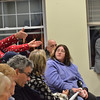 Salem: Veronica Ehrlich of Salem, left, along with other residents and city councilors voice opposition to the proposed methadone clinic at a Salem Zoning Board of Appeals meeting.   John R. Keilty, right, the attorney representing Community Health Care Inc., listens to residents concerns.   photo by Mark Teiwes / Salem News