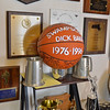 Marblehead: Dick Baker's home office is filled with awards and sports memorabilia including a baskedball form when he retired from Swampscott High School as athletic director.  photo by Mark Teiwes / Salem News