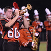 Salem: Salem High School football player Chase Duffin plays trumpet with the marching band during halftime.   photo by Mark Teiwes / Salem News