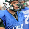 Lynn: Manchester-Essex player Ben Kekeisen looks on at the 49th annual Agganis All-Staff Football Classic  photo by Mark Teiwes / Salem News