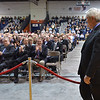 Salem: A crowd at Salem State University welcomed Former Speaker of the House Newt Gingrich as he took the stage at the O'Keefe Sports Complex.  photo by Mark Teiwes / Salem News