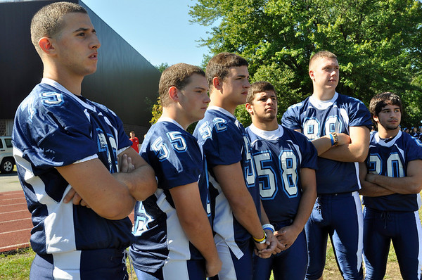 Peabody: Peabody High School football team captains: Chris Greene, left, Nick Vargas, Mike Garrity, George Haraktsis, Brian Deangelis, and Greg Celentano.  photo by Mark Teiwes / Salem News