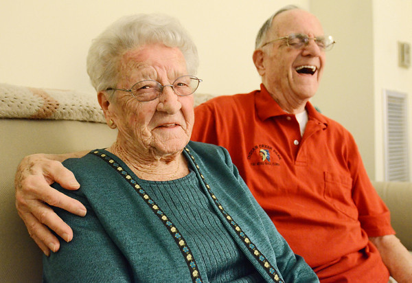 Beverly: Tom and Charlotte Casey were married Feb. 2, 1941 and are about to celebrate their 70th anniversary.  Mr. Casey said the secret to a long happy marriage was a good sense of humor, and Mrs. Casey said it was patience.  photo by Mark Teiwes  / Salem News