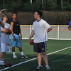 Danvers: Former St. John's Prep QB and NFL player Brian St. Pierre, left trains St. John's Prep QB Thomas Gaudet, center.  NY Giants player Jonathan Goff, right, also came to work out and help with practice. Mark Teiwes / Salem News