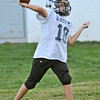 Hamilton: Quarterback Hunter Wilichoski, 11, makes a throw at a Hamilton-Wenham Youth Football practice.   photo by Mark Teiwes / Salem News