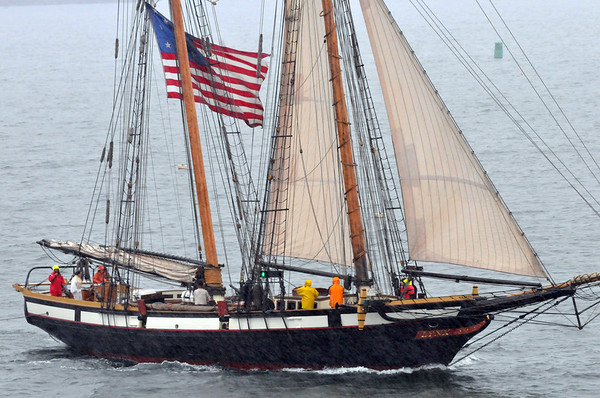 Marblehead:  The 114-ton Lynx is an interpretation of a naval schooner from the War of 1812. She is fitted with period ordnance and flies pennants and flags from the 1812 era.   photo by Mark Teiwes / Salem News