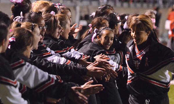 Salem: Salem High School cheerleaders celebrate after a touchdown.  photo by Mark Teiwes / Salem News
