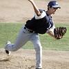 Lynn: Peabdoy American pitcher Frank Celona releases a strike.   photo by Mark Teiwes  / Salem News