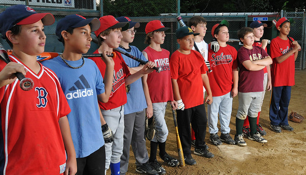 Salem: The Salem American Little League all-star team lines up for a photo during practice  photo by Mark Teiwes / Salem News