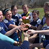Middleton:   Hamilton-Wenham Cheetah's U-10 girls travel soccer team cheers, ready for the second half against the Middleton Flash.  Hamilton-Wenham beat Middleton 3-2.   photo by Mark Teiwes / Salem News