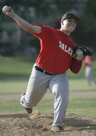 Marblehead: Salem Senior Babe Ruth baseball pitcher Stharlin Nova throws a fastball.   photo by Mark Teiwes / Salem News