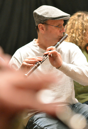 Salem: Rich Attridge plays the Irish Flute with the Salem Country Orchestra during the  Salem First Saturday Contra Dance at Tabernacle Church. photo by Mark Teiwes / Salem News