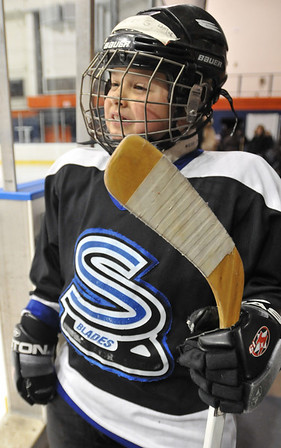 Salem: Tyler Geary of Salem, 7, is ready to hit the ice.   photo by Mark Teiwes / Salem News