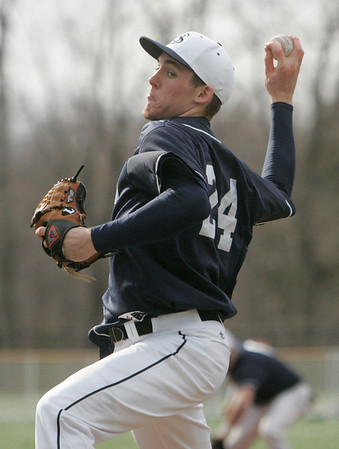 Danvers: St. John's Prep's Pat Connaughton was the starting pitcher for the season opener against Peabody High School.  photo by Mark Teiwes / Salem News
