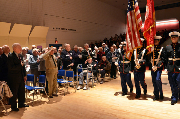 Salem: Members of the Salem High School Marine Corps Junior ROTC participate in the posting of colors at a Veterans Day service. photo by Mark Teiwes / Salem News