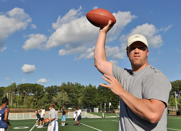 Danvers: Former St. John's Prep QB and NFL veteran Brian St. Pierre gets ready to make a throw during a drill.   He is working out a couple of times a week with upcoming St. John's Prep players. Mark Teiwes / Salem News