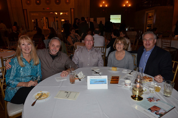 Danvers: Carol Sanger, left, Harvey Albert, Gary Epstein, Merle and Larry Shuman all from Suman and Epstein also sponsored the event.  photo by Mark Teiwes / Salem News