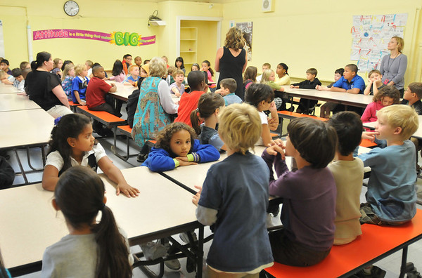 Salem: Saltonstall School 1st and 2nd graders check out the lunchroom at former St. James parochial school where they will be for the year.  photo by Mark Teiwes  / Salem News