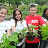 Salem: Youth from the Boys and Girls Club of Greater Salem, Alexis Cicco, left, Lily Muenzner, M.J. Sirois, and Lisabel Matos hold native species of plants that they will put into a garden behind the Derby House in Salem Maritime National Historic site. photo by Mark Teiwes / Salem News