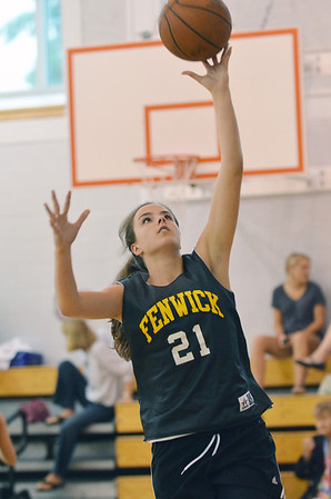 Danvers: Bishop Fenwick captain Maura Doyle makes a layup in the North Shore High School Girls Summer Basketball League.  photo by Mark Teiwes / Salem News