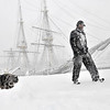 Salem: Michael Gonzalez of Salem walks past the Friendship into the wind getting a face full of snow. photo by Mark Teiwes / Salem News