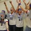 Beverly: Waring School fans cheer for the boys basketball team during the team's league championship game in Beverly on Tuesday. The team won 54-52 in overtime. From left to right are, Clare Stanton, Colleen O'Brien, Katherine Crowley, Lauren McInnes, and Skye McIvor. Photo by Matthew Viglianti/Staff Photographer Tuesday, March 3, 2009.