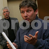 Danvers: Ed Sanborn, a Danversport resident, expresses his skepticism about a report given by Dr. Scott Davis, vice president of explosion and fire safety at GexCon US, a company hired to conduct an investigation of the 2007 CAI Chemical Plant explosion in Danversport, during a presentation hosted by CAI at the Sheraton Ferncroft in Danvers on Wednesday. Through his investigation, Dr. Davis was unable to reach a singular conclusion as to the cause of the explosion, but admitted that avenues existed for further investigation, which Sanborn hoped he would persue. CAI has decided to discontinue the investigation. In the background is public interest lawyer, Jan Schlictmann. Photo by Matthew Viglianti/Staff Photographer Wednesday, May 27, 2009.