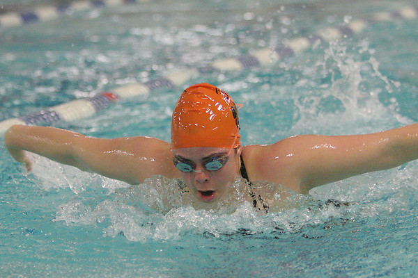 Beverly: Meghan Nardella swims the 100-yard butterfly for the Beverly Panthers during their home meet against Marblehead on Thursday night. Photo by Matthew Viglianti/Staff Photographer Thursday, January 14, 2010.