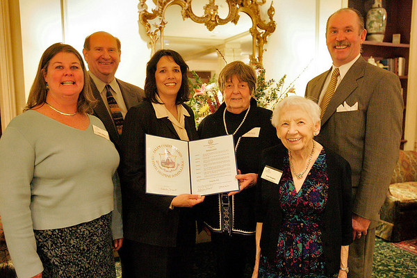 Salem: From left, Maggie LaMothe from Lynn, Jim Clouser from Lynn, Salem Mayor Kim Driscoll, Marlys Russell, Ruth Manghue, and State Representative Bob Fennell from Lynn, at the 100th anniversary celebration of Camp Fire in Salem on Thursday. Camp Fire hosts after school programs, clubs, and summer programs throughout the area. Manghue first attended the Camp in 1929. Photo by Matthew Viglianti/Staff Photographer Thursday, March 25, 2010.