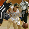 Beverly: Annie Sinclair of Beverly, right, drives while under defensive pressure from Swampscott senior captain Allie Beaulieu during the first quarter of the Panthers' home game against Swampscott on Tuesday. Photo by Matt Viglianti/Salem News Tuesday, January 27, 2009
