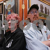 Salem: Wendy Snow-Lang and her husband Charles Lang are both science-fiction fans and artists from the North Shore. The couple met at a science-fiction conference in boston, and were married on Halloween night 24 years ago. They have been integral in running the annual Terror Fantasies Art Show in Salem since its inception almost 20 years ago. Here they pose in front of their artwork. Photo by Matt Viglianti/Salem News Tuesday, October 07, 2008