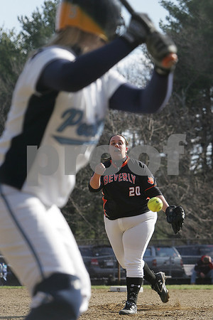Peabody: Amanda Smith from Peabody awaits a fourth inning offering from Beverly pitcher Kristen Lojko during their teams' game at the Kiley School Field in Peabody on Thursday. Photo by Matthew Viglianti/Staff Photographer Thursday, April 9, 2009.