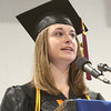 Beverly: Laura Crowell, valedictorian for the Beverly High School class of 2010, speaks at graduation ceremonies at on Sunday. The graduation was held at Endicott College's Post Center due to inclement weather. Photo by Matthew Viglianti/Staff Photographer Sunday, June 13, 2010.