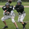Marblehead: Marblehead senior defensive back Nick Haller, right, defends senior Ian McKinley on a passing route during practice on Wednesday. The Marblehead defense hopes to stop Danvers' Wing T offense this Friday. Photo by Matt Viglianti/Salem News Wednesday, October 22, 2008