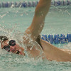 Beverly: Tom Cason from Marblehead competes in the 100-yard freestyle event during Marblehead's away meet against Beverly at the Sterling Center YMCA on Thursday night. Cason won the race with a time of 1:03:03. Photo by Matthew Viglianti/Staff Photographer Thursday, January 14, 2010.
