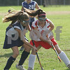 Topsfield: Hayden Stone from Hamilton-Wenham, left, challenges Masconomet tri-captain Heather Fraser for the ball during the General's away game in Topsfield on Thursday. Photo by Matt Viglianti/Salem News Thursday, October 02, 2008