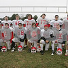 Topsfield: Masconomet senior football players. Top row from left to right. Clay Cleveland, Steve Sylvia, Drew Bunker, Keaton Cashin, Steve Russo, Joe Santarpio, and Steve Sosenko. Bottom row from left, Tom Frontera, Mike Fauci, Anthony DiBennedetto, Andrew Barry, Kevin Anderson, Ken Kobierski, and Dan Clark. Photo by Matt Viglianti/Salem News Sunday, November 30, 2008