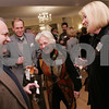Ipswich: Debby Twinning laughs while speaking with Jim Maloney, left, her husband, Peter, and Jim's wife Mary, at the kickoff to the 375th Anniversary of Ipswich at the Hellenic Community Center in Ipswich. Photo by Matt Viglianti/Salem News Sunday, November 30, 2008