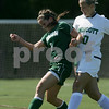 Beverly: Endicott College sophomore Kayla Plante challenges Babson freshman Lauren Clement for the ball during the first half of their game at Endicott on Monday. Photo by Matt Viglianti/Salem News Monday, September 01, 2008