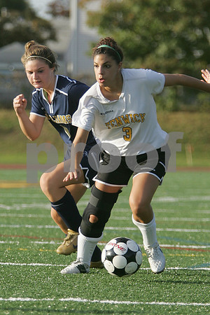 Peabody: Bishop Fenwick senior captain Bianca Gallo looks for an option after beating Archbishop Williams junior Kate Moriarty during the first half of Fenwick's home game on Wednesday. Fenwick won the gmae 5-2. Photo by Matt Viglianti/Salem News Wednesday, October 08, 2008