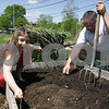 Beverly: Emma Sudak, 10, helps her father Nick Sudak from Beverly pull weeds from a bed he tends at the community gardens on Cole Street in Beverly on Sunday morning. The garden was started by Beverly Bootstraps in 2001, and features 16 beds and 20 plots where Beverly residents can grow herbs, vegetables, and flowers for their own kitchens as well as the food pantry at Beverly Bootstraps. Photo by Matthew Viglianti/Staff Photographer Sunday, May 10, 2009.