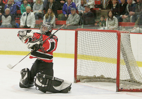 Cambridge: Marblehead junior goalie Tony Cuzner makes a second period save during the Header's Division 3 state semifinal game against Scituate at the Bright Center at Harvard University on Wednesday night. Photo by Matthew Viglianti/Staff Photographer Wednesday, March 10, 2010.