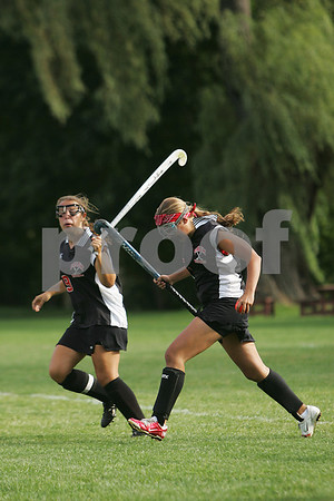 Marblehead: Ashley Felton, left, and Jill Robinson from Salem celebrate a first half goal during their game against Marblehead on Tuesday afternoon. Photo by Matt Viglianti/Salem News Tuesday, September 02, 2008